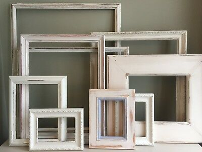 9 Vintage Frames Cream White Painted Distressed Shabby Chic Wedding Retail Home
