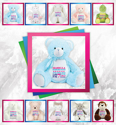 Personalised Any Name Block Embroidered Teddy Birthday Christening Baby Gift