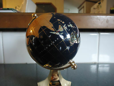 "Authentic"" Macheli "" World Globe W/genuine Gemstones And Gold Plated Stand"
