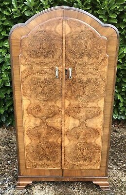 Superb Walnut Art Deco Small Child`s 2 Door Wardrobe Larger Matching Robe Listed