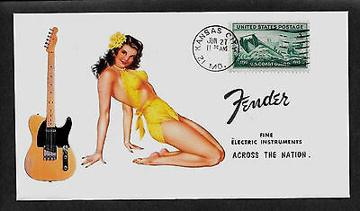 1950 Fender Broadcaster & Pin Up Girl Featured on Collector's Envelope *A199