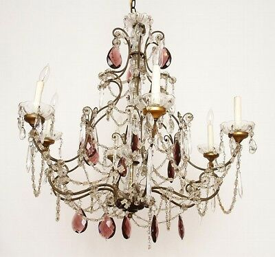 FRENCH WROUGHT IRON AND GLASS SIX ARM CHANDELIER Lot 9