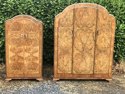 Superb Pair Of Walnut Art Deco Wardrobes Very Clean Condition