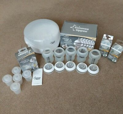 Tommee Tippee Closer to Nature Microwave Steriliser, bottles, teats, powder disp