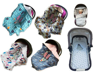 BABEESC Car Seat BABY Blanket MINKY Swaddle Cosytoes Cotton Reversible Wrap NEW