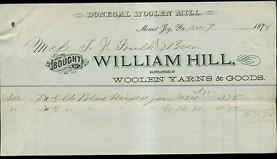 1875 Mount Joy,PA - Donegal Woolen Mill Invoice