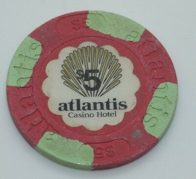 Atlantis $5 Casino Chip Atlantic City New Jersey House Mold Paul-son