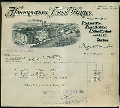 1924 Hagerstown Table Works Invoice - Hagerstown,MD