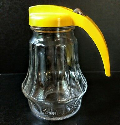 Vintage Federal Tool Corp Glass Syrup Molasses Dispenser W/ Yellow Top FREE Ship