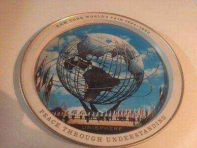 New York Worlds Fair vintage 1964 1965 Metal Serving Tray with Unisphere Picture