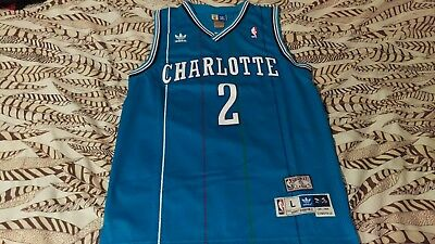 a05d62fbffc Adidas Charlotte Hornets Larry Johnson swingman jersey Large teal pinstripes