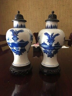 Pair 18th C Blue And White Chinese Porcelain Vase