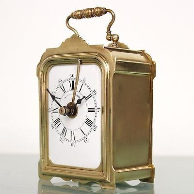 French JAPY FRERES Mantel CLOCK Alarm TOP Brass Antique FIXED PENDULUM Desk RARE
