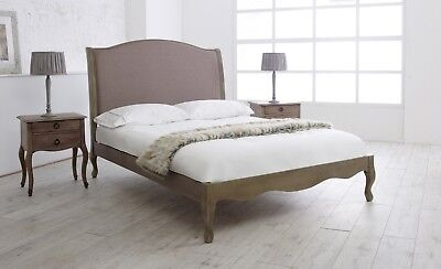 French Style Solid Wood Weathered Upholstered Bed Frame 4FT6 Double 5FT King
