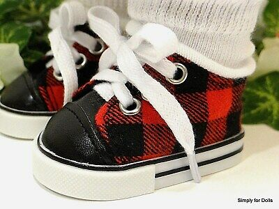 "Realistic Red Stripe Tennis Sneakers for American Girl 18/"" Doll Shoes  LOVVBUGG!"
