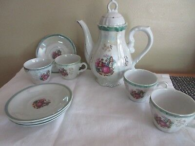 Vintage Musical Teapot w/4 cups & 4 saucers -Japan 9 piece Courtship- Lustreware