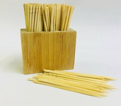 Wooden Cocktail Sticks With Bamboo Pot Holder Display & Wood Toothpicks(150pk)