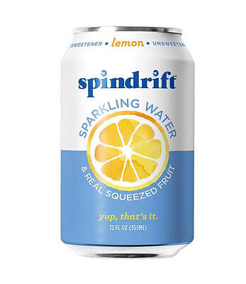 Spindrift Lemon Sparkling Water | 12-Fluid-Ounce Cans | Pack of 24