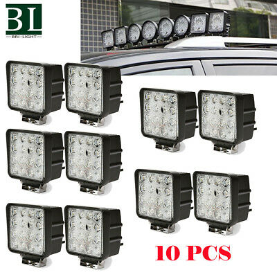 10X 48W Spot LED Off Road Work Light Lamp 12V 24V Car Boat Truck Jeep RZR Square