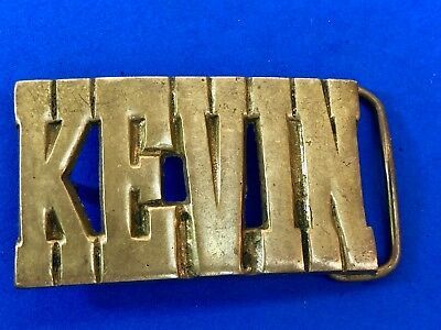 Vintage Taiwan signed Solid Brass BLOCK LETTERS Belt Buckle - Name KEVIN