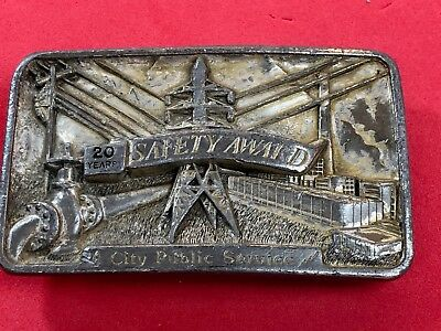 Vintage 1980's Belt Buckle - Texas 20 years safety award - City public Service