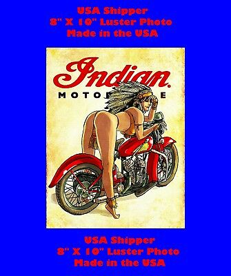 Indian Motorcycle Pin up Girl Man Cave SIGN 8x10 Photo Decor Shop Bar PIC