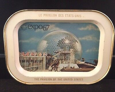 1963 Pavilion Of The United States World's Fair Expo 67 Souvenir Mini Tray Vtg
