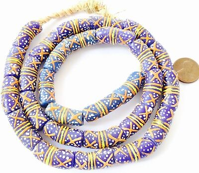 Ghana handmade glass Cylinder Multi Royal Blue colored African trade beads-Ghana