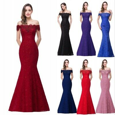 Evening Long Party Dresses Formal Prom Gown Mermaid Bridesmaid Lace Gown US