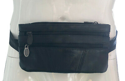 Leather Money Belt travel bag secure waist zip bum bag black