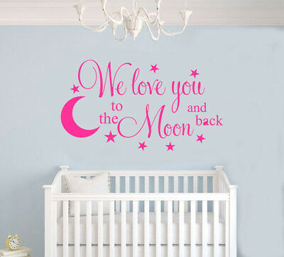 I We Love you to the moon and back nursery Wall Decal Moon and Stars Quote
