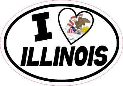 5x3.5 Oval I Love Illinois Sticker Luggage Car Window Bumper Cup Flag Decal Sign