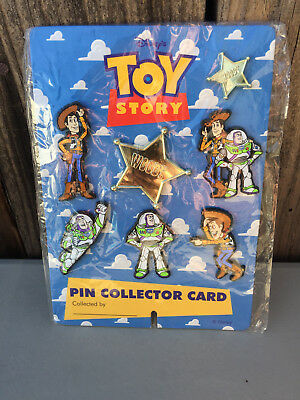 1995 DISNEY'S TOY STORY COLLECTOR CARD w 7 PINS WOODY & BUZZ 7389 - UK EXCLUSIVE