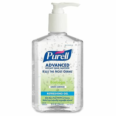 PURELL Green Certified Instant Hand Sanitizer Gel, 8oz Pump Bottle, Clear