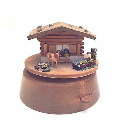 Vintage German Swiss Chalet Wooden Vanity Jewelry Trinket Music Box Working