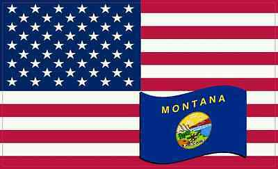 5 X 3 America and Montana Flag Magnet Vinyl Patriotic Car Decal Vehicle Magnets