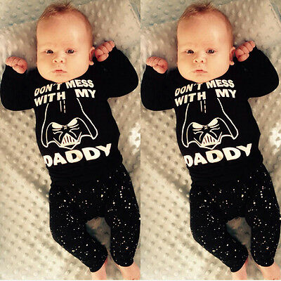 AU Canis 2Pcs Newborn Baby Boys Girl Star Wars Long Sleeve T-shirt Pants Outfits
