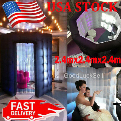 1 Door 2.4M Inflatable LED Light Photo Booth Tent Party Birthday Wedding 110V US
