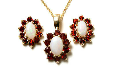 9ct Gold Opal and Garnet Cluster Pendant and Earring Set Made in UK Gift Boxed