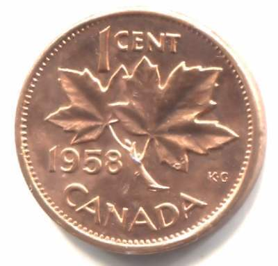 Uncirculated1958 Canadian Maple Leaf One Cent Coin - Canada Penny - Elizabeth II