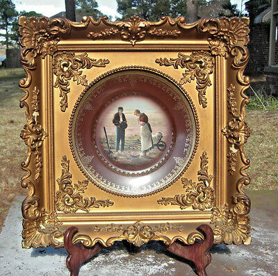 Framed 19th Century Royal Vienna ANGELUS Porcelain Plate EARLY Beehive 1/ 1001