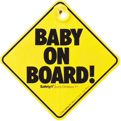 Safety 1st Car Baby On Board Sign Suction Cups Windscreen Window Yellow