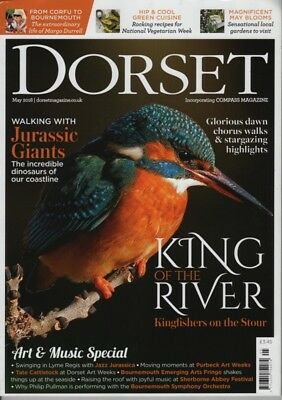 Dorset Magazine May 2018 Margo Durrell Corfu, Kingfishers Stour, Jurassic Giants