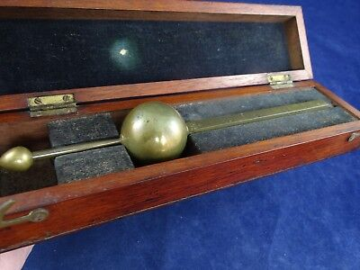 Very Unusual Antique Victorian Boxed Brass Hydrometer, Strangely Marked
