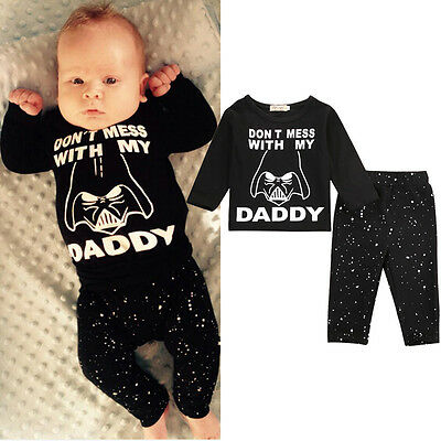 Newborn Baby Boys Girls Star Wars T-shirt Tops Pants Trousers Outfit Clothes Set