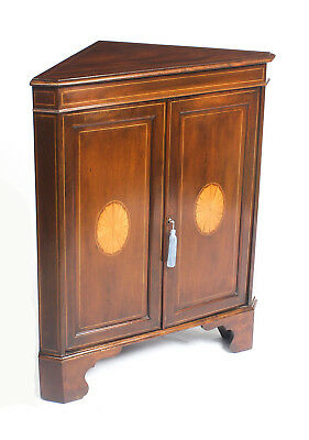 Antique Mahogany & Satinwood Inlaid Low Corner Cabinet c.1900