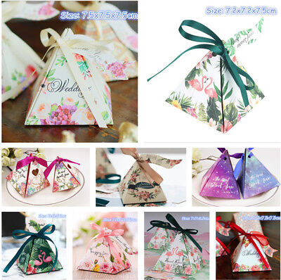 10pcs Pyramid Candy Box Wedding Favour Gift Boxes Flamingo Party Sweet Favor Box