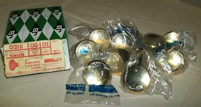 Nos 10 Vtg  Jb Ajax Brass Concave Dish Knobs Drawer Pulls Mid Century Atomic 2""