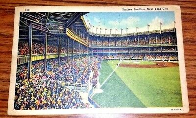 1939 Yankee Stadium Linen Postcard   ,   Home Of N.y. Yankees
