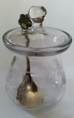 Vintage Holland Cut Glass Jam Jar & Sterling Spoon